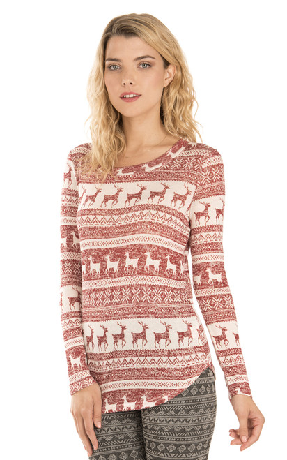 Long Sleeve Reindeer Pullover In Red