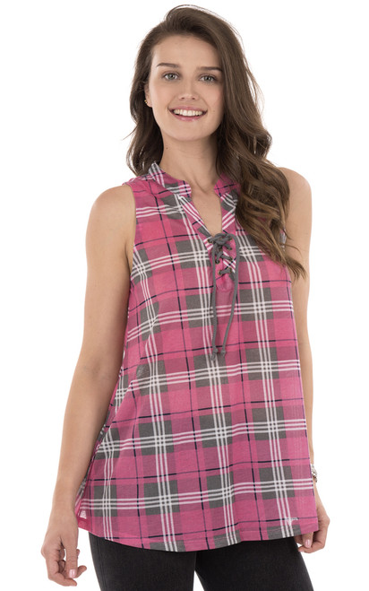 Plaid Lace Up Collar Top In Mulberry