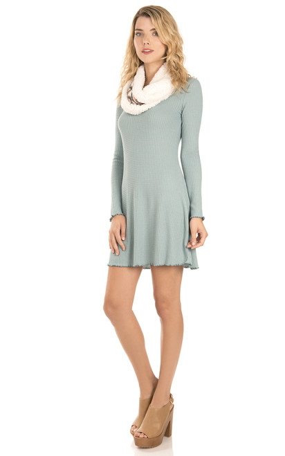 Thermal Knit Dress with Printed Scarf In Aqua