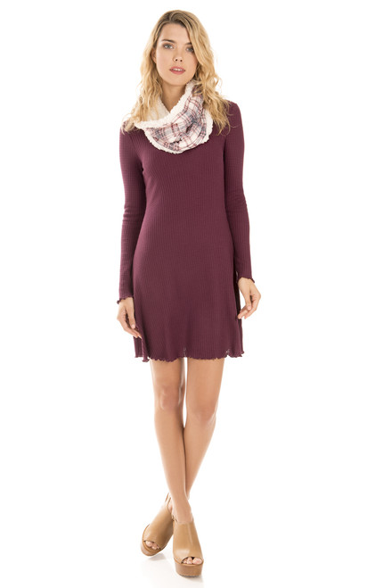 Thermal Knit Dress with Printed Scarf In Winter Plum