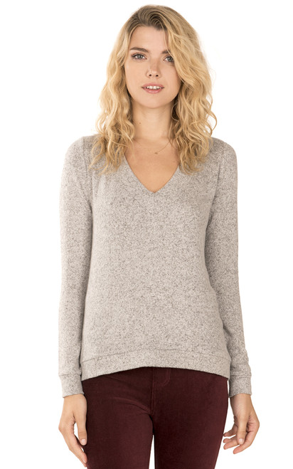 Brushed Knit V-Neck Pullover In Grey Violet