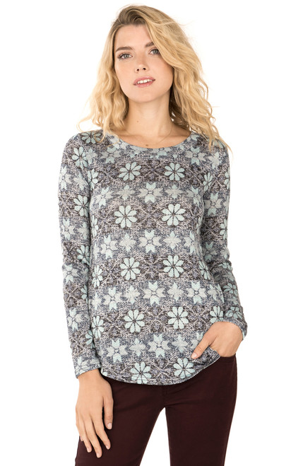 Long Sleeve Snowflake Pullover In Navy Print
