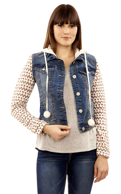 Fair Isle Knit Hooded Denim Jacket In Elsie