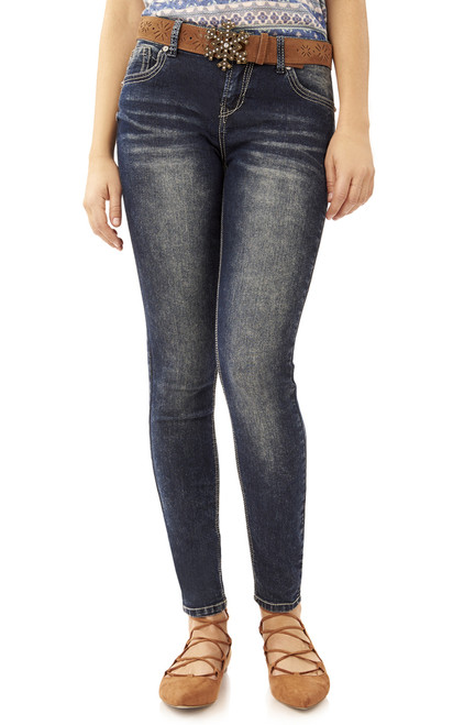 Snowflake Belted Legendary Skinny Jeans In Buffy