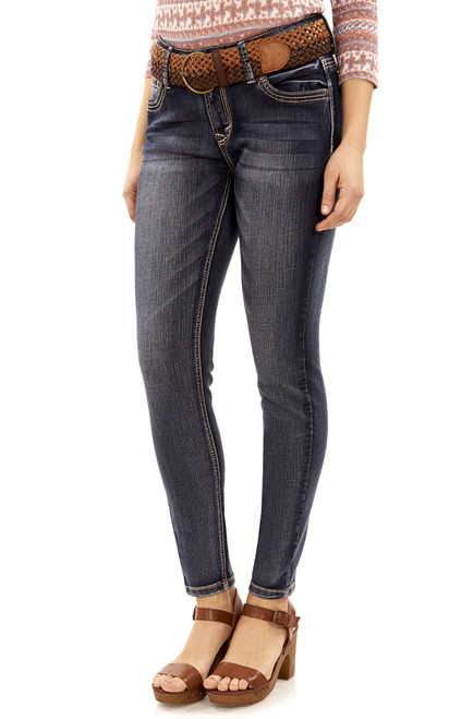 Luscious Curvy Belted Skinny Jeans In Kagan