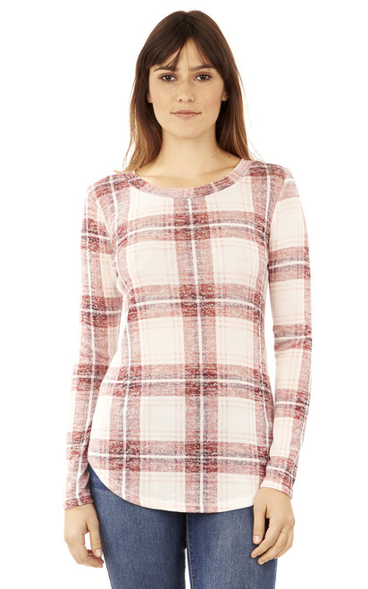 Long Sleeve Plaid Pullover In Mauve