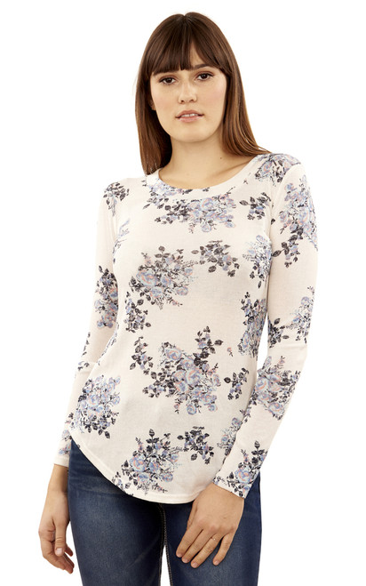 Long Sleeve Pullover In White Floral
