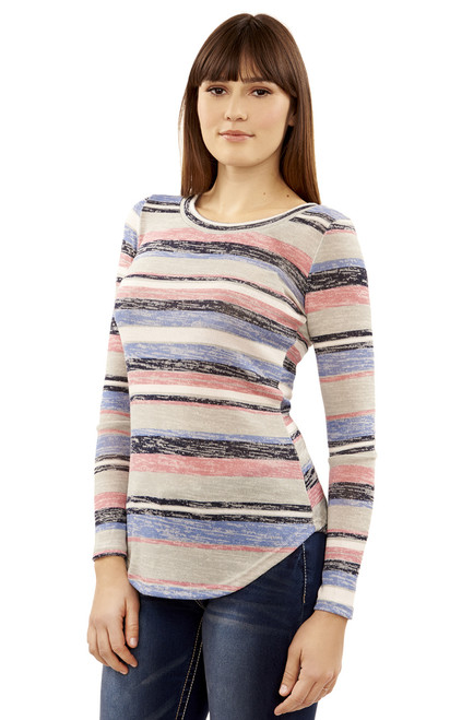 Long Sleeve Pullover In Grey Stripe