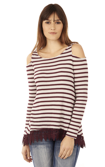 Thermal Long Sleeve Cold Shoulder In Plum
