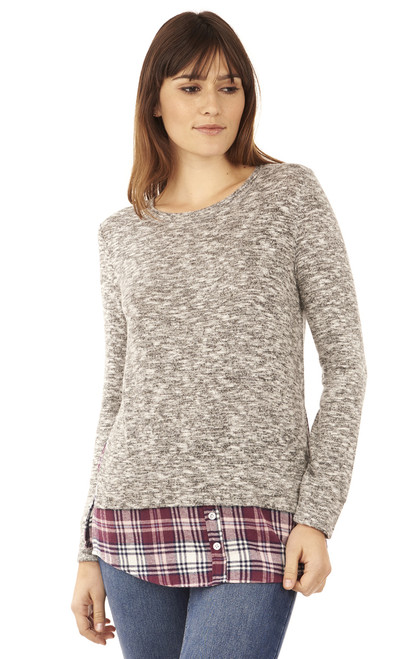 Pullover Plaid and Flannel Long Sleeve In Grey