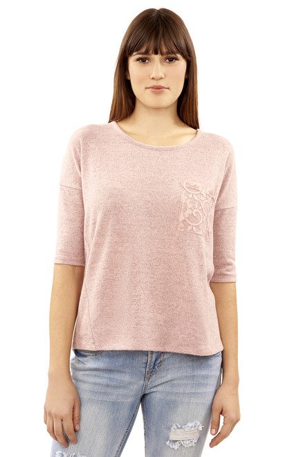 High-Low Elbow Sleeve Top with Lace Pocket In Rose
