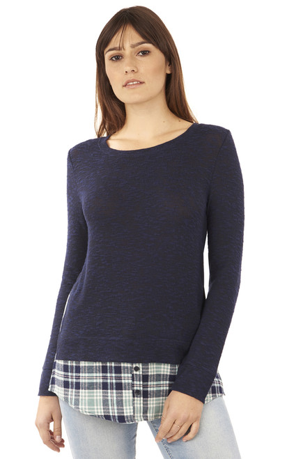 Pullover Plaid and Flannel Long Sleeve In Navy