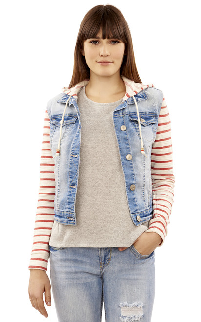 Core Striped Denim Hooded Jacket In Skyler