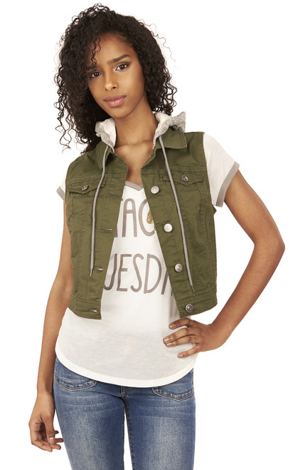 French Terry Vest In Olive