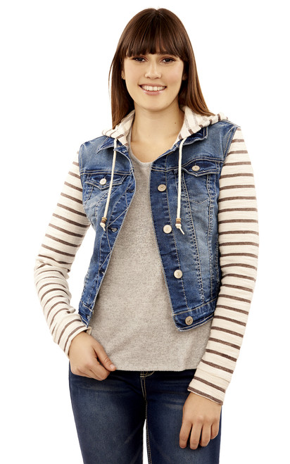 Core Striped Denim Hooded Jacket In Averly