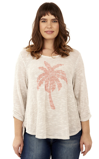 Plus Size Palm Tree Swing Top In Snow White
