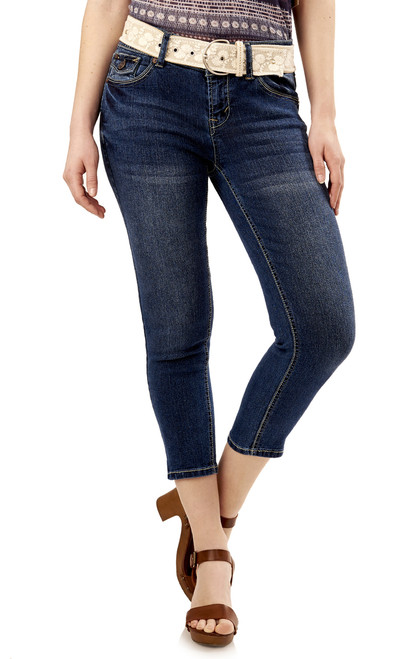 Belted Luscious Curvy Crop Jeans In Jillian