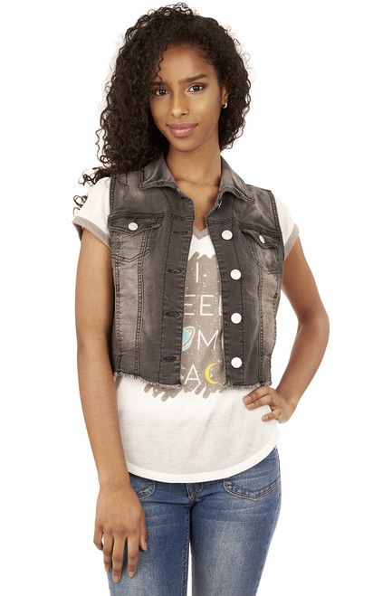Frayed Denim Vest In Emma