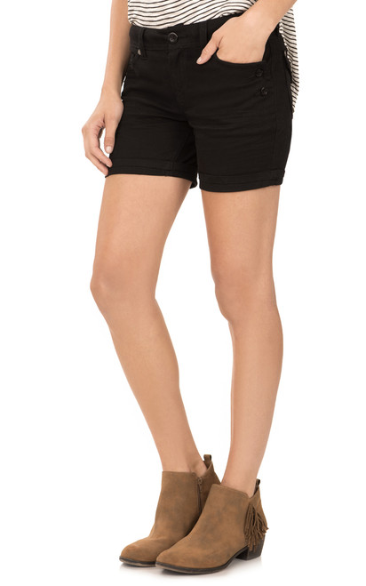 Mid-Thigh Shorts with Single Roll Cuff In Black