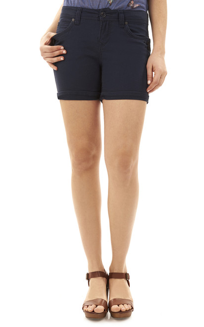 Mid-Thigh Shorts with Single Roll Cuff In Navy