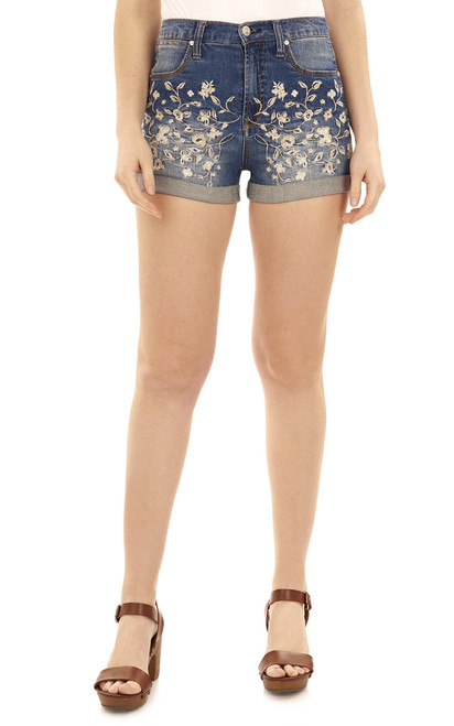 High Waisted Floral Embroidered Short In Tessa