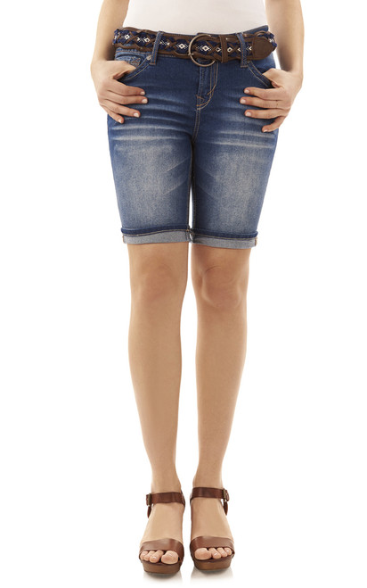 Luscious Curvy Bermuda Denim Shorts In Julia