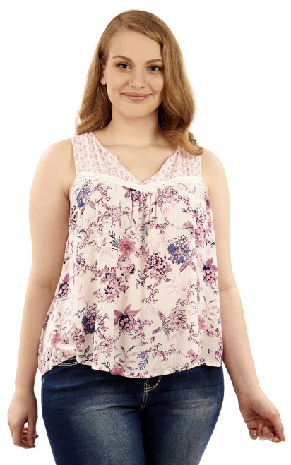 Plus Size Crochet Floral Print Tank In White