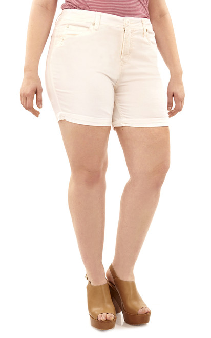 Plus Size Mid-Thigh Shorts with Single Roll Cuff In White
