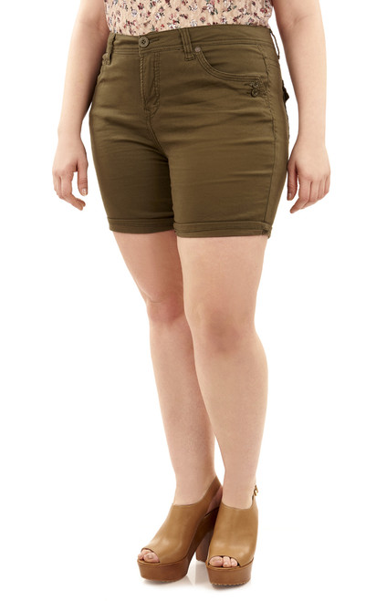 Plus Size Mid-Thigh Shorts with Single Roll Cuff In Olive