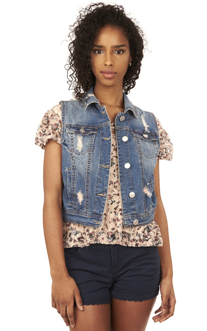 Dreamer Denim Vest In Tessa