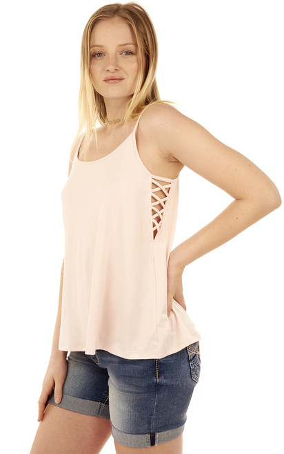 Super Soft Cage Side Tank In Pink