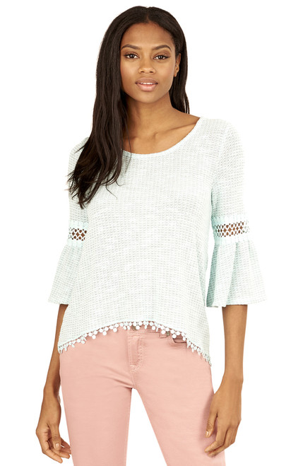 Crochet Trim Swing top In Mint