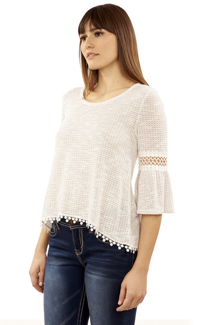 Crochet Trim Swing top In White