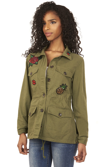 Utility Patch Jacket In Olive
