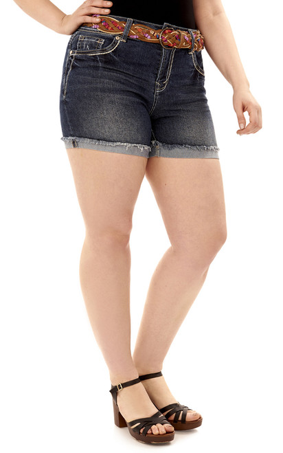 Plus Size Luscious Curvy Fray Cuff Bling Shorts In Katy