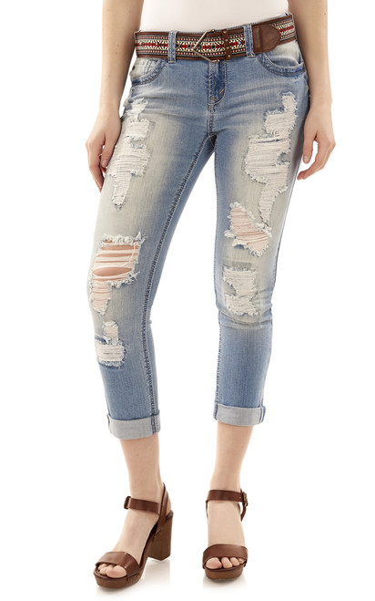 Legendary Destructed Rolled Ankle Skinny Jeans In Fern