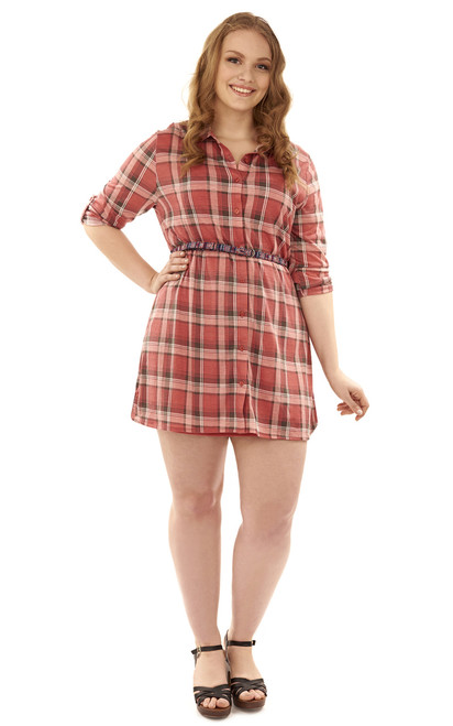 Plus Size Knit Plaid Belted Shirt Dress In Red