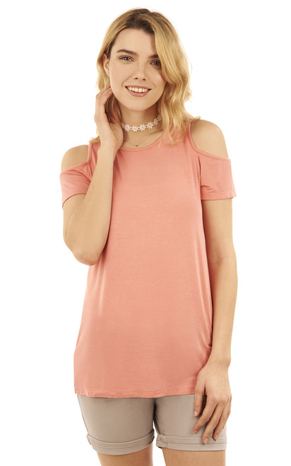 Cold Shoulder Swing Tee with Choker Necklace In Salmon