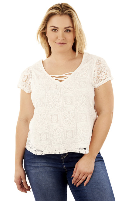 Plus Size Swing Lace Top In Antique White