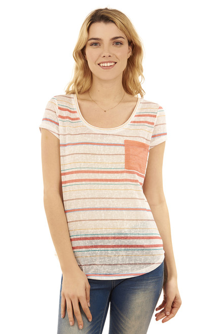 High-Low Pocket Tee In Yellow Stripe