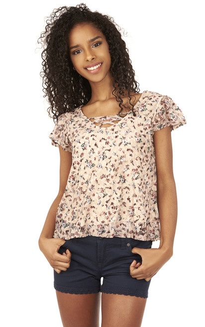 Swing Printed Lace Tee In Nude