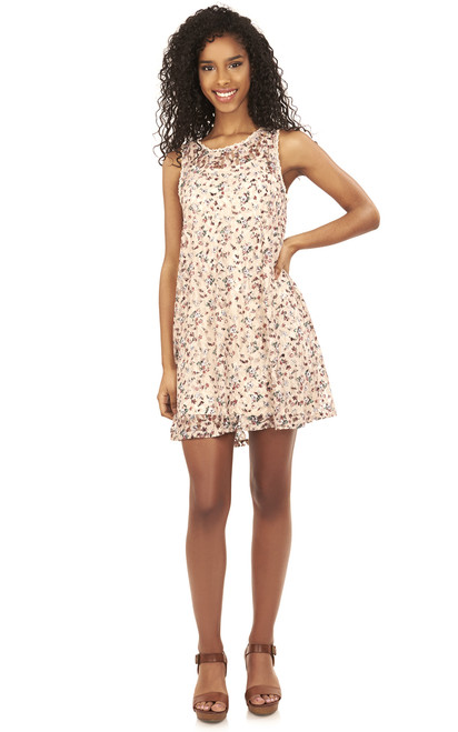 Printed Lace Swing Dress In Nude
