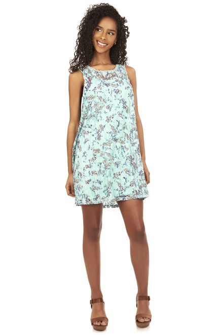 Printed Lace Swing Dress In Mint Floral