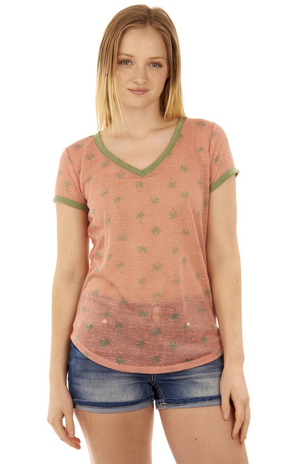 Ringer V-Neck Tee In Rose Beige