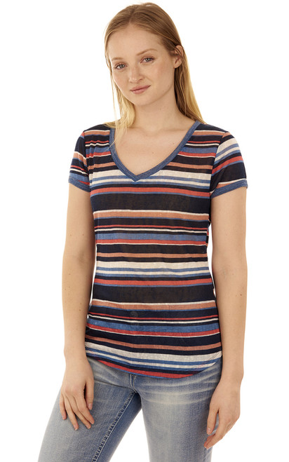Ringer V-Neck Tee In Navy Stripe