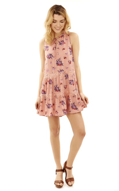 Printed Tiered Lace Dress In Rose Beige