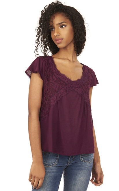 Lace Mix Swing Top In Dark Purple
