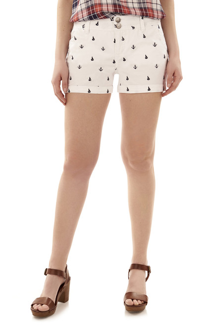 Nautical Curvy Twill Shorts In Optic White