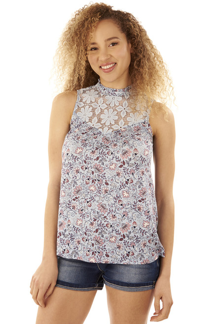 Printed Lace Tank In Blue Print