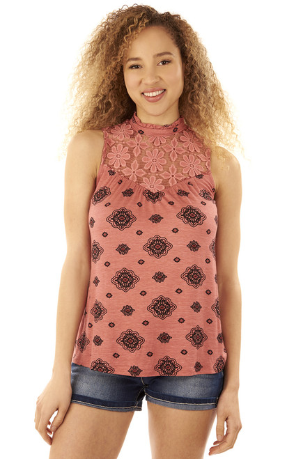 Printed Lace Tank In Dusty Apricot